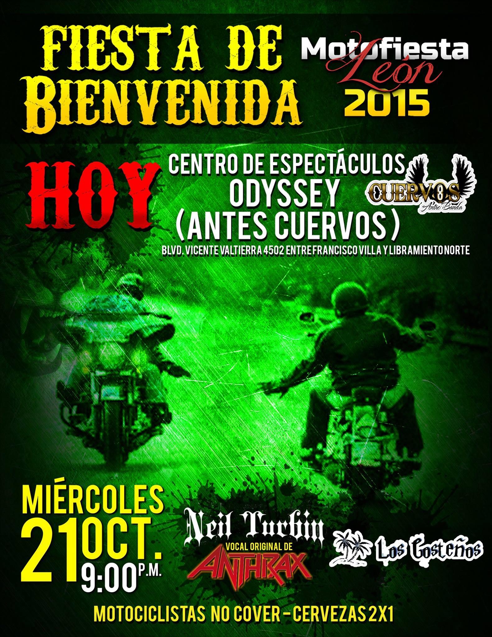 Neil Turbin live Fiesta de Bienvenida Motofiesta Leon 9/21/2015