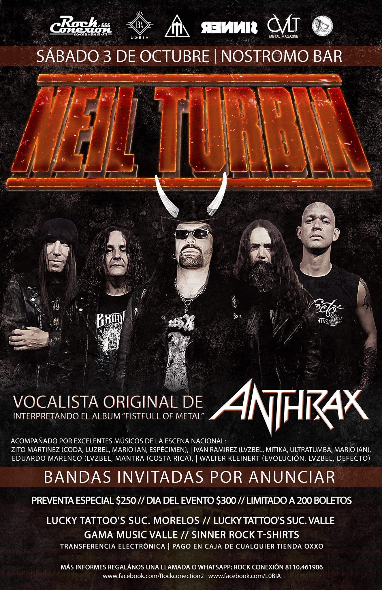 Neil Turbin Metal Thrashing Mexico Tour 2015 Monterrey MX 10/3/2015