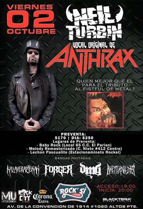Neil Turbin Metal Thrashing Mexico Tour 2015 Aguascalientes MX 10/2/2015