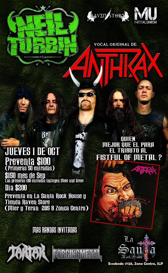 Neil Turbin Metal Thrashing Mexico Tour 2015 San Luis Potosi MX 10/1/2015