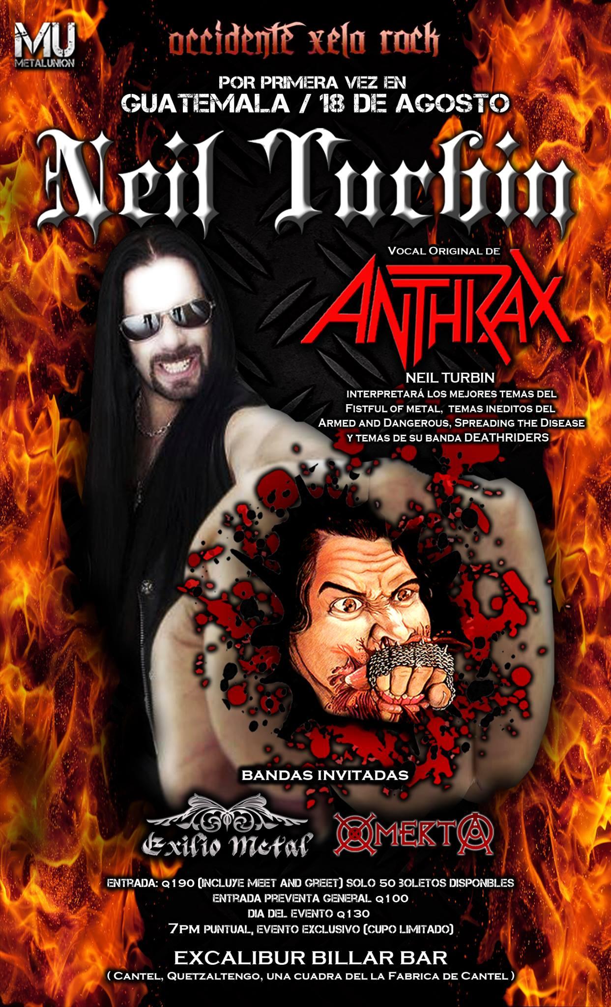 Neil Turbin The Metal Beast Is Back Tour Latin America 2016 Quetzaltengo, Guatemala 8/18/2016