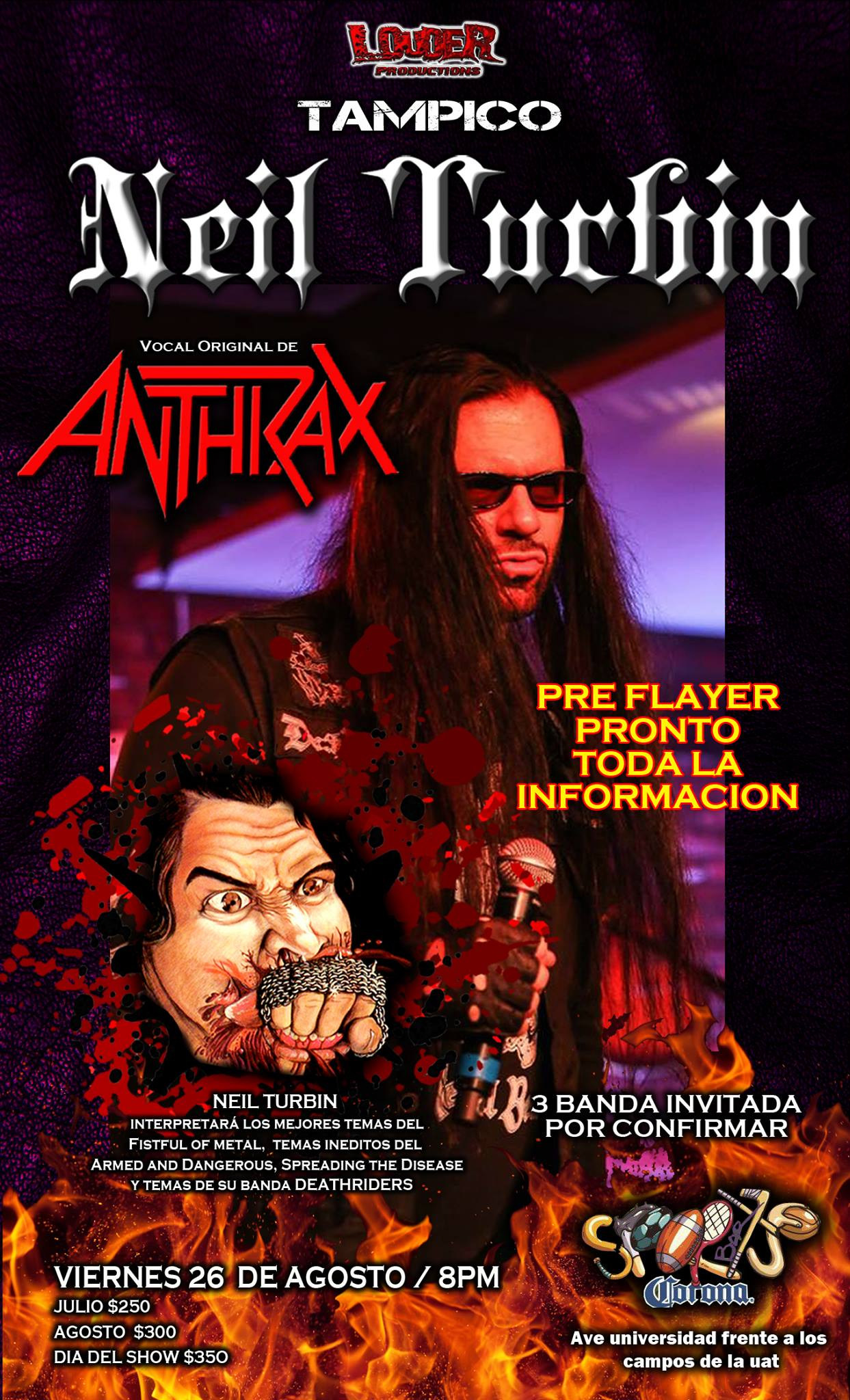 Neil Turbin The Metal Beast Is Back Tour Latin America 2016 Tampico, Mexico 8/26/2016