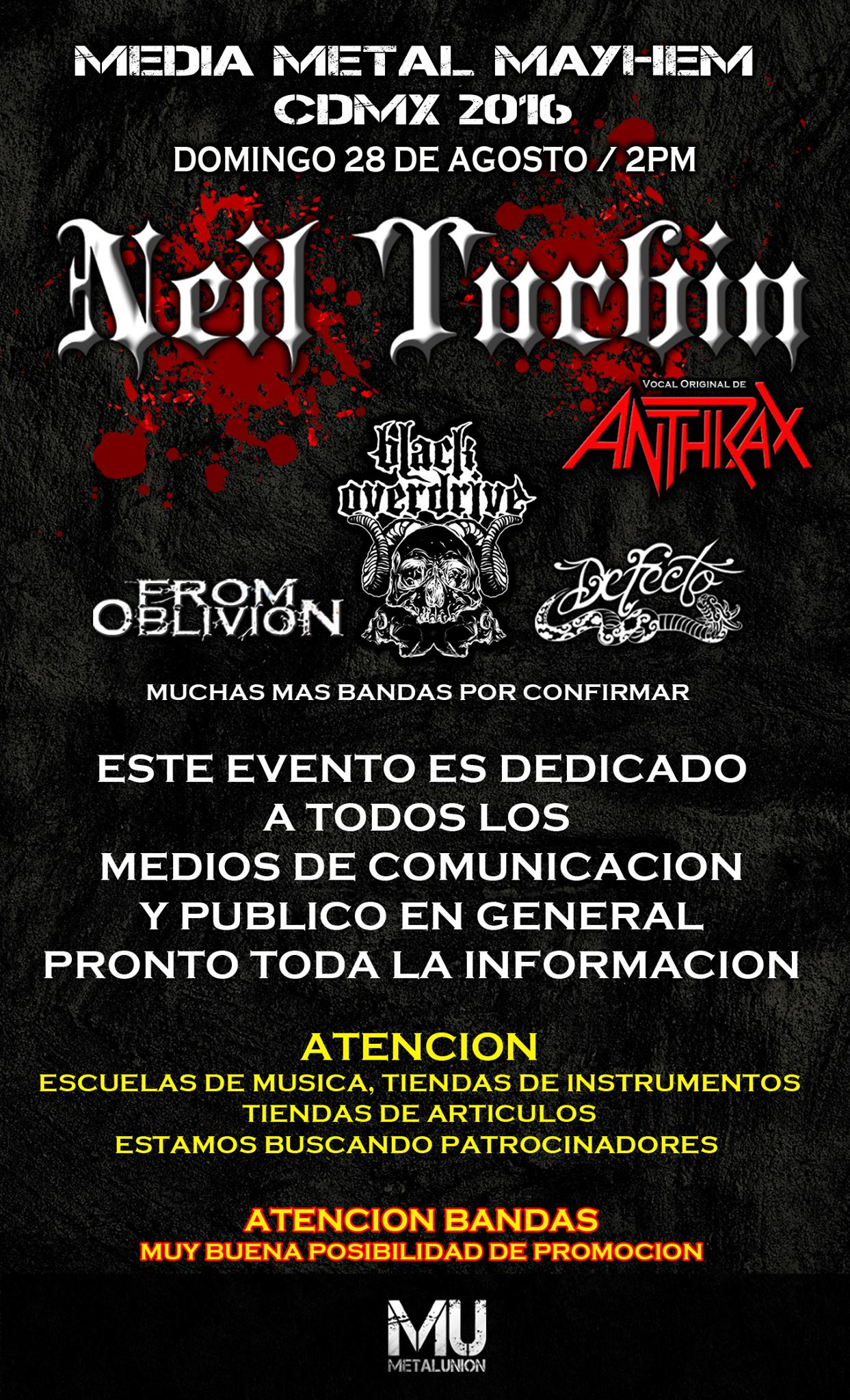 Neil Turbin The Metal Beast Is Back Tour Latin America 2016 Distrito Federal, Mexico 8/28/2016