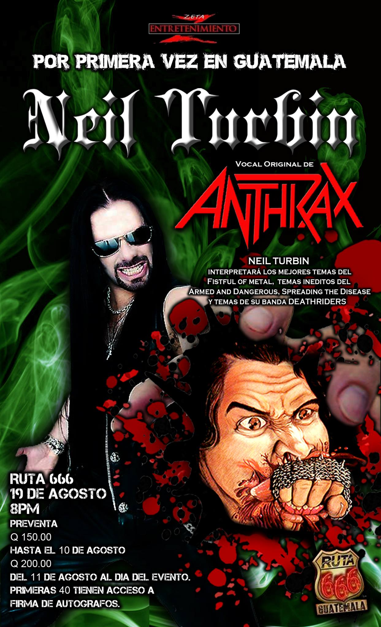 Neil Turbin The Metal Beast Is Back Tour Latin America 2016 Central, Guatemala 8/19/2016