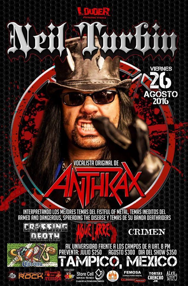 Neil Turbin The Metal Beast Is Back Tour Latin America 2016 Tampico, Mexico 8/26/2016
