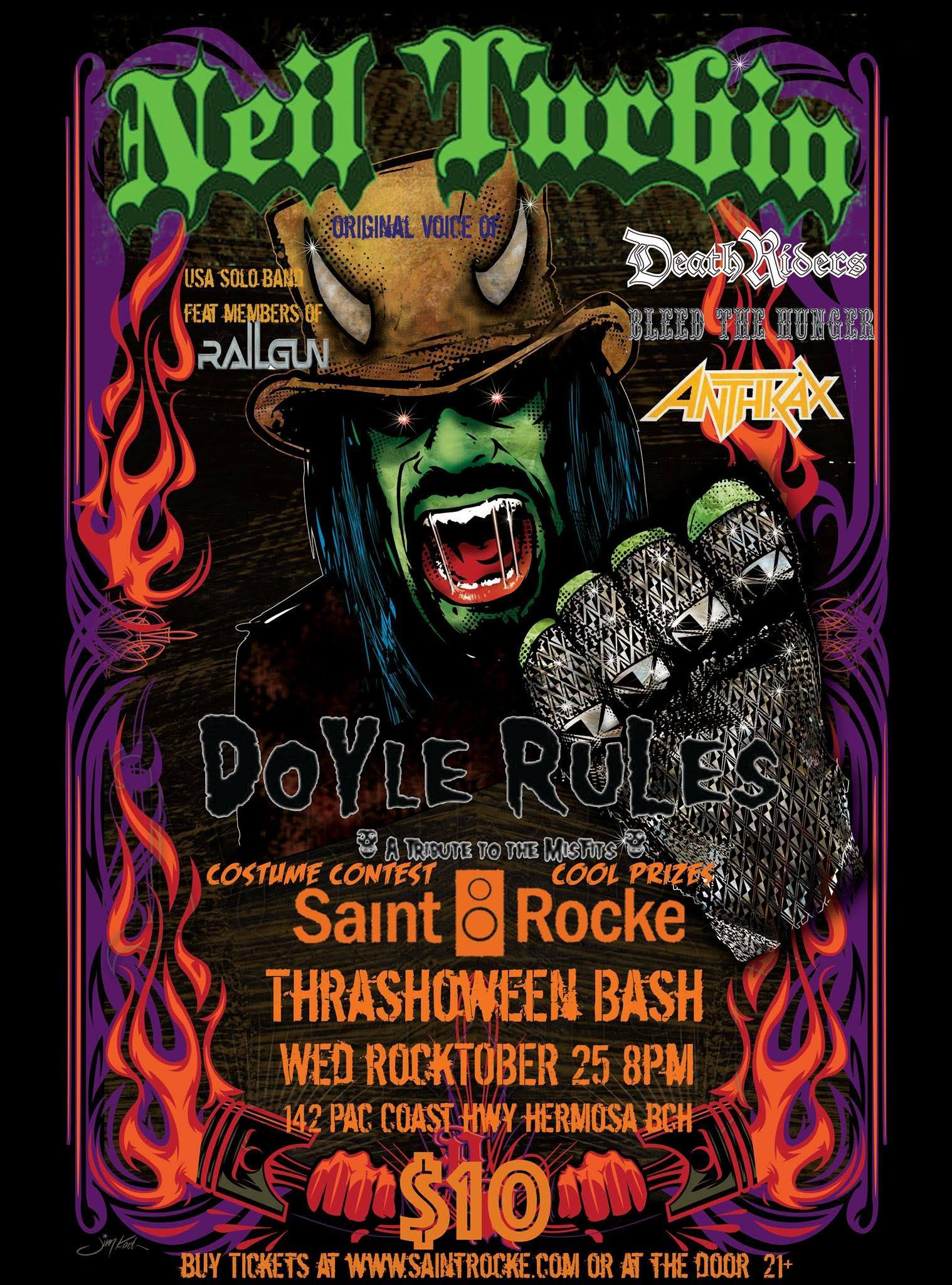 Neil Turbin USA Solo Band feat Railgun Saint Rocke Thrashoween Bash Hermosa Beach, CA 10/25/2017