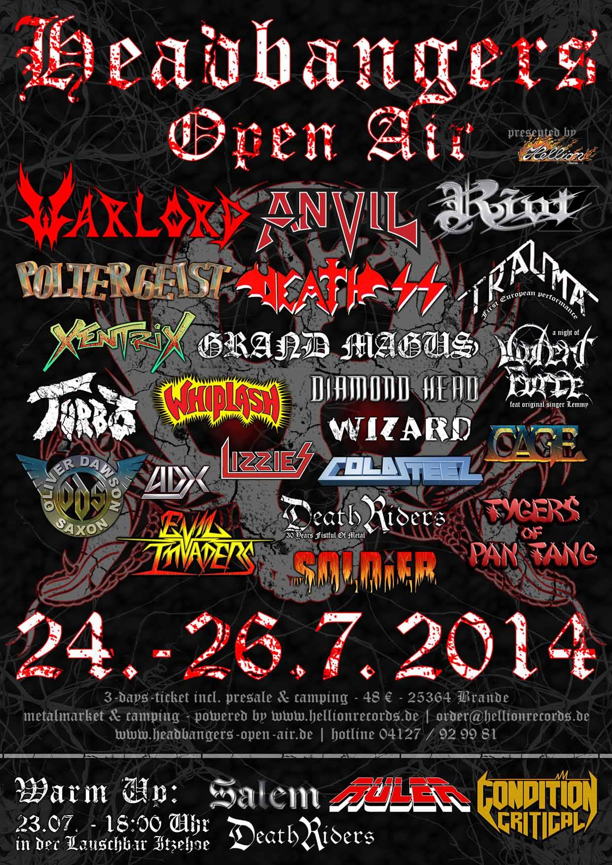 DeathRiders Fistful Of Metal Alive 30 Years Headbanger's Open Air, Germany 7/24/2014