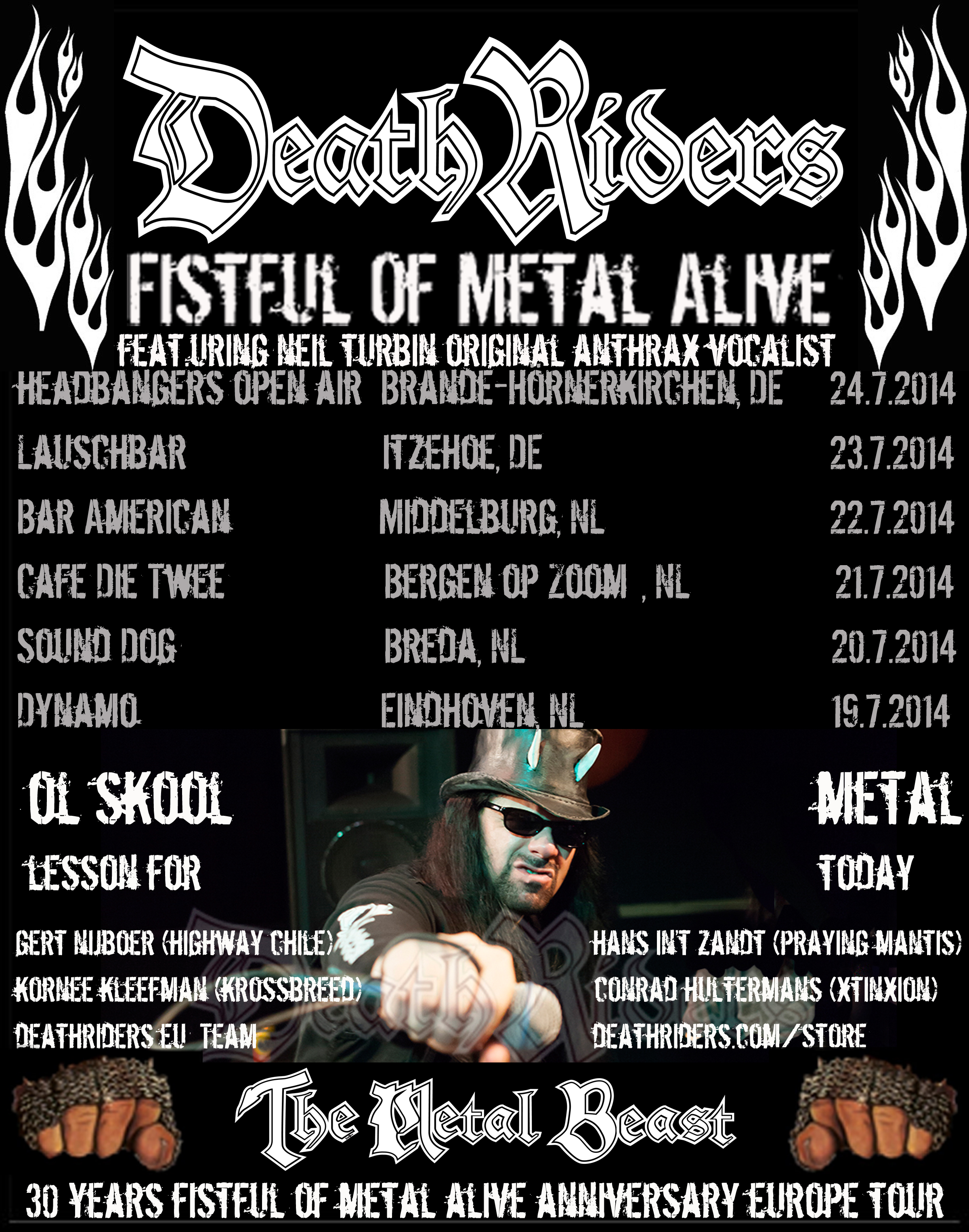 DeathRiders Fistful Of Metal Alive 30 Years Anniversary Europe Tour 2014